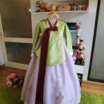 "Hanbok เด็ก 11 ขวบ สีเขียวม่วง อก 36"" สูง 135-145"