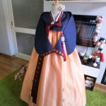 Hanbok สีกรมท่าตัดส้มปักมือดิ้นทอง เด็กโต สูง 150