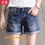 JY6106005 กางเกงยีนส์เกาหลีขาสั้นฤดูร้อนสบายๆ ยีนส์เกาหลีเอวสูง