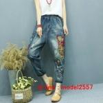 JW6106002 กางเกงยีนส์ผู้หญิงเกาหลี Retro Art สไตล์ Harem ทรงหลวมเย็บปักถักร้อย