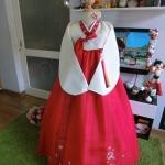 """Hanbok สีขาวแดง ผ้าไหมดิ้นทอง อก 34"""" สูง 155"""