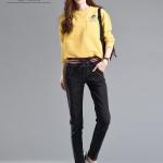 JW6101003 กางเกงยีนส์เอวสูงฮาเล็มเอวยางยืดแฟชั่นสาวเกาหลีสีดำ