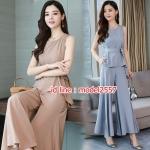 UP6107005 เสื้อชุดกางเกงสูทผู้หญิงคอกลมแขนกุดสาวทำงานแฟชั่นเกาหลี