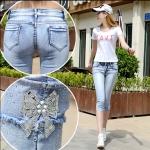 JH6001002 กางเกงยีนส์ สไตร์สาวเกาหลี ขา 5 ส่วน เข้ารูป