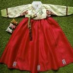 Hanbok Girl ฮันบกผ้าไหมสีเหลืองแดง สำหรับเด็ก 6 ขวบ