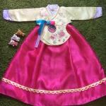 Hanbok Girl ฮันบกผ้าไหมชาววังสีหวาน สำหรับเด็ก 7 ขวบ