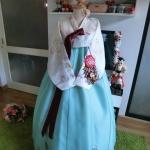 """Hanbok ผ้าไหมพรีเมี่ยม สีขาวมิ้น 36"""" สูง 160"""