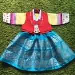 Hanbok Girl ฮันบกผ้าไหมแบบ 3 ชิ้น สำหรับเด็ก 1 ขวบ