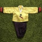 Hanbok Boy ฮันบกผ้าไหมสีเหลือง ม่วง สำหรับเด็กชาย 5ขวบ