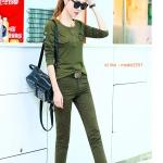 ้HW6107009 กางเกงขายาวทหารหญิงสีเขียวกองทัพทหาร+เสื้อ แฟชั่นเกาหลี (พรีออเดอร์) รอ 3 อาทิตย์หลังโอนเงิน