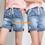 JY6106007 กางเกงยีนส์เกาหลีขาสั้นฤดูร้อนสบายๆ ยีนส์เกาหลีเอวสูง เอวยางยืด