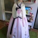 """Hanbok สีพาสเทลปักมือดิ้นเงิน อก 38"""" สูง 160"""