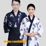 F6103001 ชุดผ้าฝ้ายซูชิกิโมโนสไตร์ญี่ปุ่น สำหรับห้องอาหารญี่ปุ่นเกาหลี เสื้อพนักงานต้อนรับ