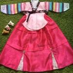 Hanbok Girl ฮันบกชาววังสีชมพูแขนสลับ สำหรับเด็ก 6 ขวบ