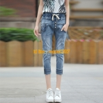 JH6106002 กางเกงยีนส์ฮาเล็มเกาหลี ขา 7 ส่วน (พรีออเดอร์)