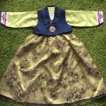 Hanbok Girl ฮันบกผ้าไหมสีเขียว สำหรับเด็ก 6 ขวบ