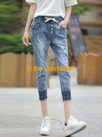 JH6106003 กางเกงยีนส์ฮาเล็มเกาหลี ขา 7 ส่วน (พรีออเดอร์)
