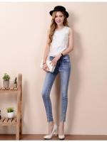 JH6101003 กางเกงยีนส์ สไตร์สาวเกาหลี ขา 9 ส่วน แต่งลูกปัด (พรีออเดอร์)
