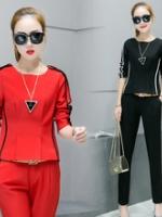 UP5910006 เสื้อชุดกางเกงสูทผู้หญิงคอกลมแขนยาวสาวทำงานแฟชั่นเกาหลี (พรีออเดอร์)