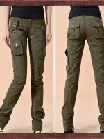 HW5906002 กางเกงขายาวทหารหญิงสีเขียวกองทัพทหาร แฟชั่นเกาหลี (พรีออเดอร์) รอ 3 อาทิตย์หลังโอนเงิน