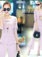 UP5910007 เสื้อชุดกางเกงสูทผู้หญิงคอกลมแขนยาวสาวทำงานแฟชั่นเกาหลี (พรีออเดอร์)