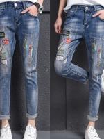 LW6003001 กางเกงยีนส์ผู้หญิงสำหรับสาวอวบขายาวแต่งปะเพ้นท์สี (พร้อมส่ง)32