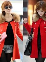 CW6011011 เสื้อโค้ทตัวยาวสีแดงสดผ้าผสมขนสัตว์แต่งเฟอร์ขนสไตร์เกาหลี