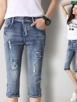 JH5909005 กางเกงยีนส์สาวเกาหลี 5 ส่วน ทรงดินสอเซอร์ (พรีออเดอร์) รอ 3 อาทิตย์หลังโอนเงิน