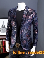 JM6102013 เสื้อสูทลำลองผู้ชายเสื้อสูทงานเลี้ยงพิมพ์ลายแบบตะวันตก