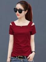 UP6104001 เสื้อยืดสีแดงเหลี่ยมปาดหวานแฟชั่นเกาหลี