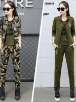 HW6010006 ชุดกางเกงทหารแจ็กเก็ตทหารหญิงฤดูใบไม้ผลิและฤดูร้อนลายพลางกองทัพ(พรีออเดอร์) รอ 3 อาทิตย์หลังโอนเงิน