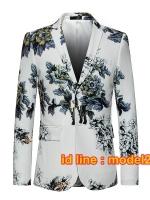 JM6102011 เสื้อสูทลำลองผู้ชายเสื้อสูทงานเลี้ยงพิมพ์ลายแบบตะวันตก