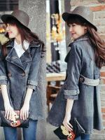 FW6009013 เสื้อคลุมแจ็กเก็ตยีนส์ตัวยาวคอปกเสื้อกันหนาวสาวเกาหลี (PRE)