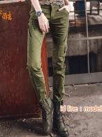 HW6107004 กางเกงทหารหญิงทรงหลวมสีเขียวกองทัพ(พรีออเดอร์) รอ 3 อาทิตย์หลังโอนเงิน