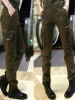 HW5906013 กางเกงทหารหญิงทรงหลวมสีเขียวกองทัพ(พรีออเดอร์) รอ 3 อาทิตย์หลังโอนเงิน
