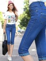 JH5903003 กางเกงยีนส์ สไตร์สาวเกาหลี ขา 5 ส่วน สียีนส์ (พร้อมส่ง)