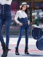JW6012002 กางเกงยีนส์ กางเกงยีนส์เอวสูง กางเกงยีนส์ขาเดฟกางเกงยีนส์เกาหลี