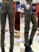 HW5906009 กางเกงทหารหญิงทรงหลวมสีเขียวกองทัพ (พรีออเดอร์) รอ 3 อาทิตย์หลังโอนเงิน