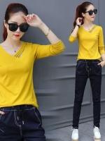 UM6005012 เสื้อยืดคอวีแขนยาวสีเหลืองแฟชั่นเกาหลี(พรีออเดอร์)