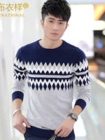 KM5710001 เสื้อกันหนาวเกาหลีผู้ชาย คอกลม แขนยาวลายวินเทจ (พรีออเดอร์) รอสินค้า 3 อาทิตย์หลังชำระเงิน