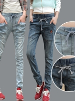 JW5710010 กางเกงยีนส์สาวเกาหลี เอวยาง ทรงฮาเล็ม พร้อมส่ง 32