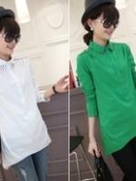 GW5712003 เสื้อเชิ้ตสาวเกาหลี ขาว เขียว ดำ ดีไซส์เก๋ (พรีออเดอร์)รอสินค้า 3อาทิตย์หลังโอนเงิน