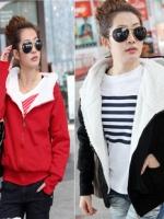 KW5808003 เสื้อกันหนาวมีฮูด ผ้าผสมขนสัตว์สาวเกาหลี (พร้อมส่ง)ดำ