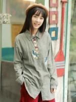 GW5712006 เสื้อเชิ้ตสาวเกาหลี ตาหมากรุกแต่งการ์ตูน น่ารัก (พรีออเดอร์)รอสินค้า 3อาทิตย์หลังโอนเงิน