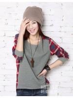 UM575705005 เสื้อยืดสาวเกาหลี คอกลม แขนยาวเหลืองหวาน (พร้อมส่ง)