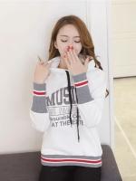 KW6011004 เสื้อกันหนาวสวมหัวมีฮูดสีขาวทรงหลวมสไตรสาวเกาหลี (pre)