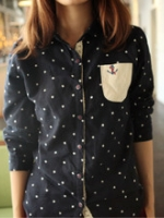 GW5712012 เสื้อเชิ้ตสาวเกาหลี ลายจุดน่ารัก (พรีออเดอร์)รอสินค้า 3อาทิตย์หลังโอนเงิน