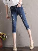 JH6007006 กางเกงยีนส์สาวเกาหลี 5 ส่วนขาเดปเข้ารูปเอวสูง (พรีออเดอร์) รอ 3 อาทิตย์หลังโอนเงิน