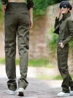 HW5906007 กางเกงขายาวทหารหญิงสีเขียวกองทัพทหาร แฟชั่นเกาหลี (พรีออเดอร์) รอ 3 อาทิตย์หลังโอนเงิน