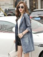 FW6009012 เสื้อคลุมแจ็กเก็ตยีนส์ตัวยาวคอปกแขนตุ๊กตาเสื้อกันหนาวสาวเกาหลี (พรีออเดอร์)